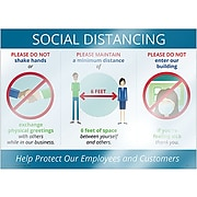 """ComplyRight Window Cling, Social Distancing, 10"""" x 14"""", White/Blue/Red (N0111)"""