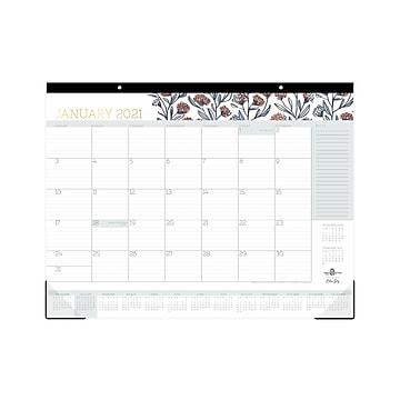 "2021 Blue Sky 17"" x 22"" Desk or Wall Calendar, Pencil Flower Pink by Egg Press, Multicolor (121898)"