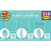 Amscan Plastic Assorted Cutlery, Blue, 210/Pack (43904.121)