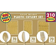 Amscan Plastic Assorted Cutlery, Gold, 210/Pack (43904.19)