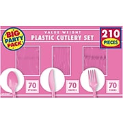 Amscan Plastic Assorted Cutlery, Bright Pink, 210/Pack (43904.103)