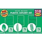 Amscan Plastic Assorted Cutlery, Festive Green, 210/Pack (43904.03)