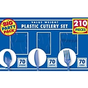Amscan Plastic Assorted Cutlery, Bright Royal Blue, 210/Pack (43904.105)