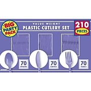 Amscan Plastic Assorted Cutlery, New Purple, 210/Pack (43904.106)