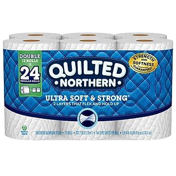 Quilted Northern Ultra Soft & Strong 2-ply Standard Toilet Paper, 164 Sheets/Roll, 48 Rolls/Case (94421)