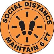 "Accuform Slip-Gard™ Floor Decal, ""Social Distance Maintain 6 FT,"" Vinyl, 12"", Orange (MFS384)"
