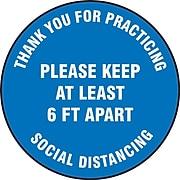 "Accuform Slip-Gard™ Floor Decal, ""Please Keep at Least 6 FT Apart,"" Vinyl, 12"", Blue (MFS420)"