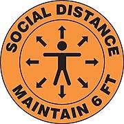 "Accuform Slip-Gard™ Floor Decal, ""Social Distance Maintain 6 FT,"" Vinyl, 12"", Orange (MFS380)"
