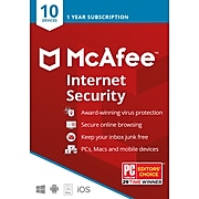 McAfee Internet Security Antivirus Software for 10 Devices (1-10 Users), Product Key Card (MIS00ESTXRAA)