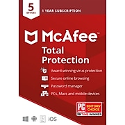 McAfee Total Protection Antivirus Software for 5 Devices (1-5 Users), Product Key Card (MTP00EST5RAA)