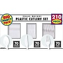 Amscan Plastic Assorted Cutlery, Frosty White, 210/Pack (43903.08)