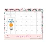 """2021 Blue Sky 12"""" x 15"""" Wall Calendar, Garden Flower Breast Cancer Awareness, White/Pink (101630-21)"""