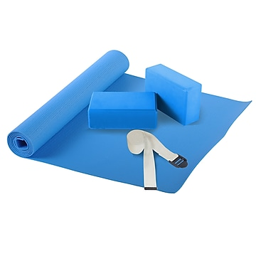 Sunny Health & Fitness Yoga Set, Blue, 4/Pack (NO. 040),Size: large