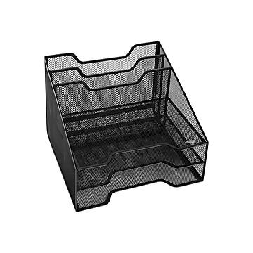 Rolodex 5-Compartment Wire Mesh File Organizer, Black (1742322)