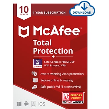 McAfee Total Protection + Safe Connect Premium VPN Software for 10 Devices, Windows/Mac/Android/iOS, Download (MTC0AENRXRAAD)