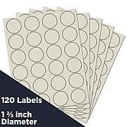 JAM Paper Circle Round Label Sticker Seals, 1 2/3 Inch Diameter, Ivory, 120/Pack (147627045)