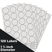JAM Paper Circle Round Label Sticker Seals, 1 2/3 Inch Diameter, White, 120/Pack (3147612193)