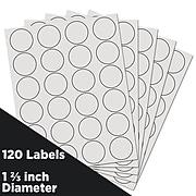 JAM Paper Circle Round Label Sticker Seals, 1 2/3 Inch Diameter, White, 120/Pack (3147612193)