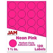JAM Paper Circle Round Label Sticker Seals, 1 2/3 Inch Diameter, Neon Pink, 120/Pack (354329581)