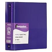 "JAM Paper Heavy Duty 2"" 3-Ring Flexible Poly Binders, Purple Glass Twill (64244)"