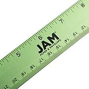 """JAM Paper Stainless Steel 12"""" Ruler, Lime Green (347M12LI)"""