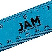 """JAM Paper Stainless Steel 12"""" Ruler, Blue (347M12BU)"""