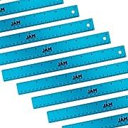 """JAM Paper Stainless Steel 12"""" Ruler, Blue, 12/Pack (347M12BUB)"""