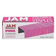"JAM Paper Colorful Staples, 1/4"" Leg Length, Pink, 5000/Box (335PIZ)"