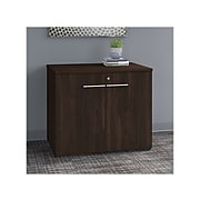 """Bush Business Furniture Office 500 29.82"""" Storage Cabinet with 2 Shelves, Black Walnut, Installed (OFS136BWSUFA)"""