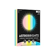 "Astrobrights Cardstock Paper, 65 lbs., 8.5"" x 11"", Assorted Colors, 250 Sheets/Pack (91715)"