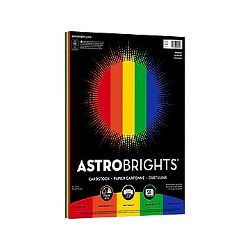 """Astrobrights Primary One Cardstock Colored Paper, 65 lbs., 8.5"""" x 11"""", Assorted Colors, 50 Sheets/Pack (20401-01)"""