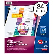 Avery Ready Index Numeric Dividers, 10-Tab, Multicolor, 24 Sets/Pack (11169)
