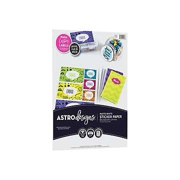 "Astrobrights Astrodesigns Inkjet/Laser Sticker Paper Labels, 8 1/2"" x 11"", Matte White, 15 Sheets/Pack (91296-01)"