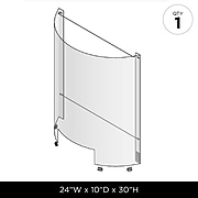 "Harbor Retail Freestanding Curved Sneeze Guard, 30""H x 24""W, Clear Polycarbonate (321132)"