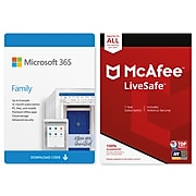 Microsoft 365 Family McAfee LiveSafe for Windows/Mac/Android/iOS, 6 People/Unlimited Devices, Download (6GQ-00091)