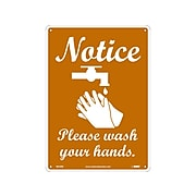 """National Marker Wall Sign, """"Notice: Please Wash Your Hands,"""" Plastic, 14"""" x 10"""", Brown/White (WH3RB)"""