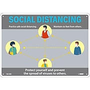 "National Marker Wall Sign, ""Social Distancing,"" Plastic, 10"" x 14"", Gray/Blue/Yellow (M618RB)"