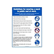 """National Marker Poster, """"Guidelines for Wearing a Mask in Public and at Work,"""" 24"""" x 18"""", White/Blue (PST145)"""