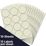 JAM Paper® Circle Round Label Sticker Seals, 2.5 Inch Diameter, Ivory, 120/Pack (147628590)