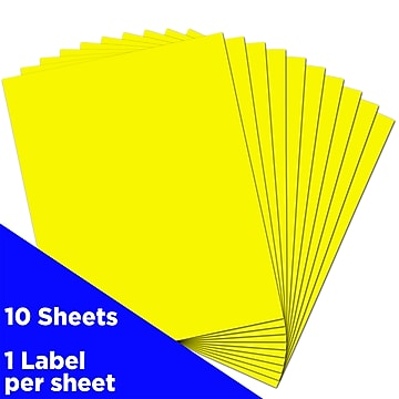 JAM Paper® Shipping Labels, Full Page, 8 1/2 x 11 Sticker Paper, Neon Yellow, 10/Pack (337628611)