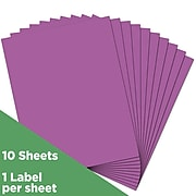 JAM Paper® Shipping Labels, Full Page, 8 1/2 x 11 Sticker Paper, Violet Purple, 10/Pack (337628762)