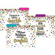 """Teacher Created Resources Confetti File Folders, 3-Tab, 11.75"""" x 9.5"""", Assorted Colors, 12/Pack, 2/Bundle (TCR8536)"""