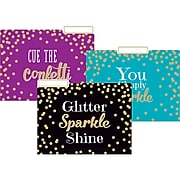 "Teacher Created Resources Gold Foil Confetti File Folders, 3-Tab, 11.75"" x 9.5"", Assorted Colors, 12/Pack, 2/Bundle (TCR8537)"