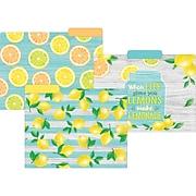 "Teacher Created Resources Lemon Zest File Folders, 3-Tab, 11.75"" x 9.5"", Assorted Colors, 12/Pack, 2/Bundle (TCR8542)"