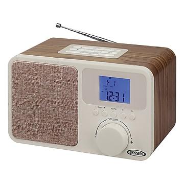 Jensen JCR-315 Digital AM/FM Dual Alarm Clock Radio, Beige/Brown