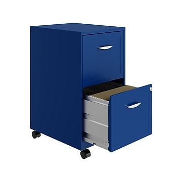 "OfficeDesigns SOHO Smart 2-Drawer Vertical File Cabinet, Locking, Letter, Blue, 18"" (24362)"