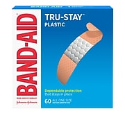"Band-Aid Brand .75"" x 3"" Tru-Stay Plastic Strips Adhesive Bandages, All One Size, 60/Box (513186)"