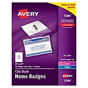 Avery Clip Style Name Badges/Holders, Clear with White Inserts, 40/Box (5384)