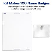 """Avery Clip Style Name Badges/Holders, 3"""" x 4"""", Clear with White Inserts, 100 Labels Per Pack (74541)"""