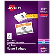 Avery Clip Style Name Badges/Holders, Clear with White Inserts, 100/Box (74461)